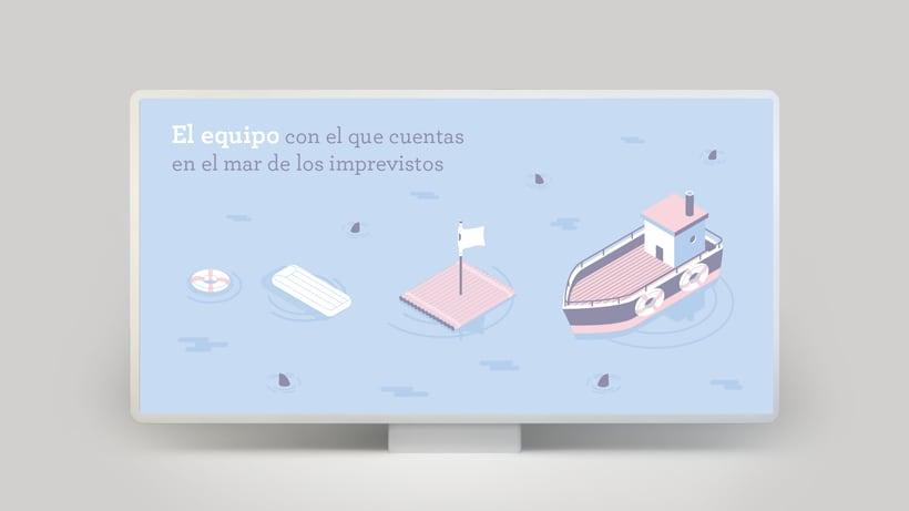 Campaña publicitaria e Ilustraciones corporativas para empresa de seguros 0