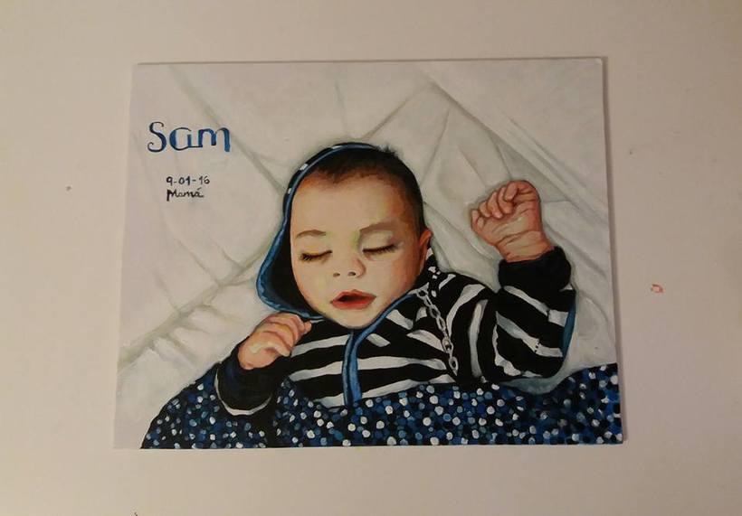 shhhhh .....Sam duerme....  ( acrílico) -1