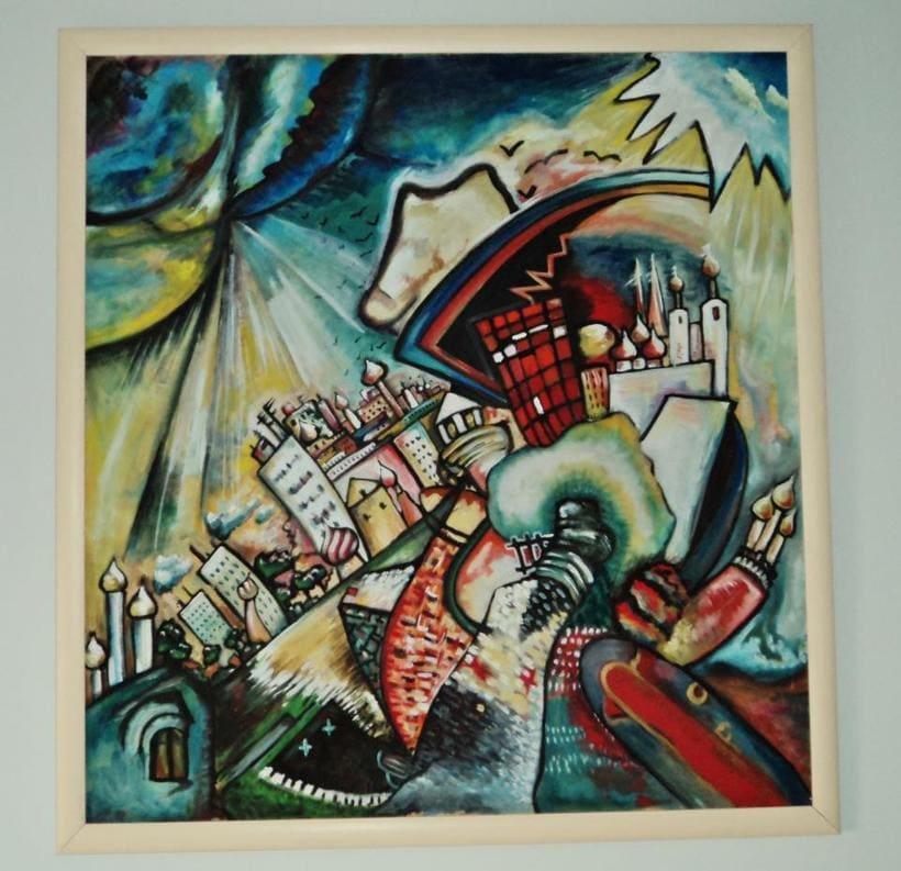 Inspiración Kandinsky ( óleo sobre tabla madera/cartón reciclado) -1