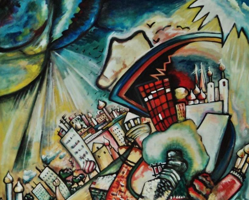 Inspiración Kandinsky ( óleo sobre tabla madera/cartón reciclado) 0