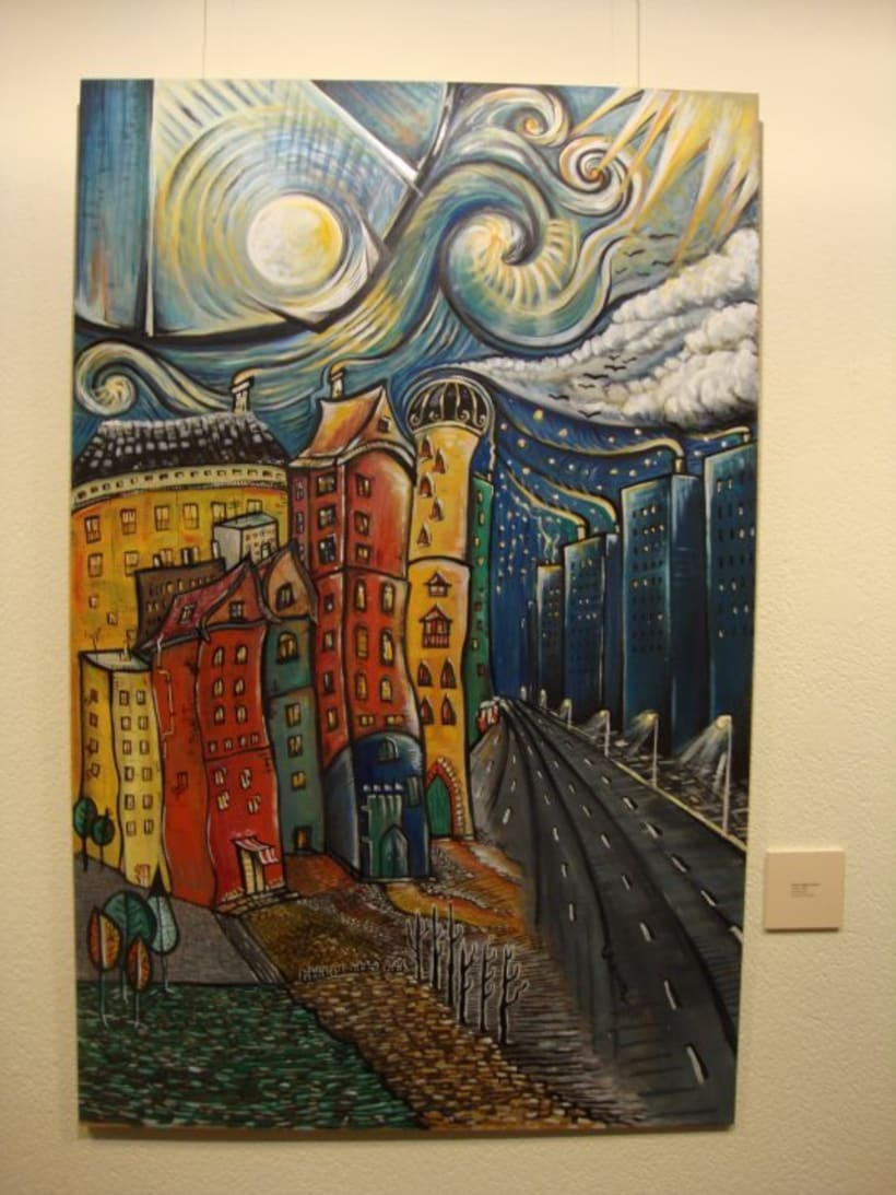 Inspiración Kandinsky ( óleo sobre tabla madera/cartón reciclado) 1