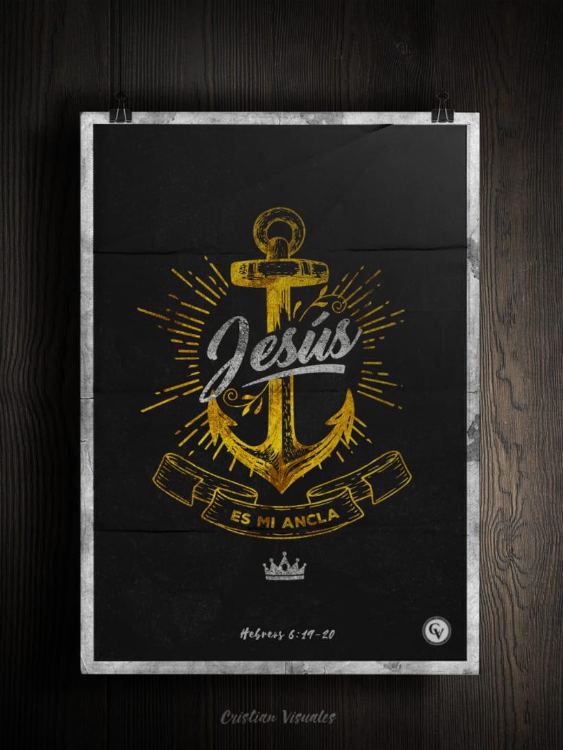 Poster y  Estampado - Jesus es mi ancla -1