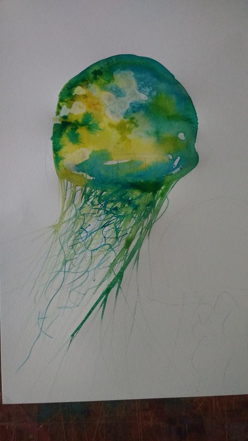 Medusas me encanto experimentar con la tecnica de acuarela, tinta china y otros materiales !! -1
