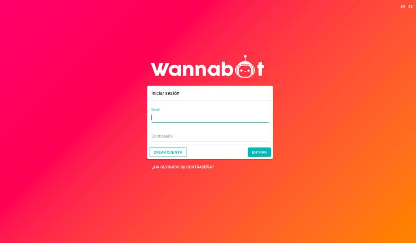 Infografía de funcionamiento  y logotipo de Wanabot (empresa de creación de chatbots) 1