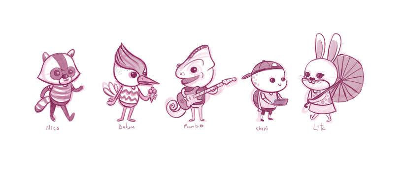 Mi Proyecto del curso: Técnicas creativas de diseño e ilustración de personajes (Caramba Friends) 3