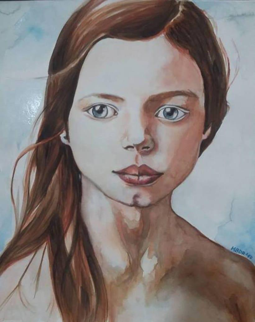 Nuevo proyecto: Retrato en acuarela con retoque digital. Gracias Ana Santos 2
