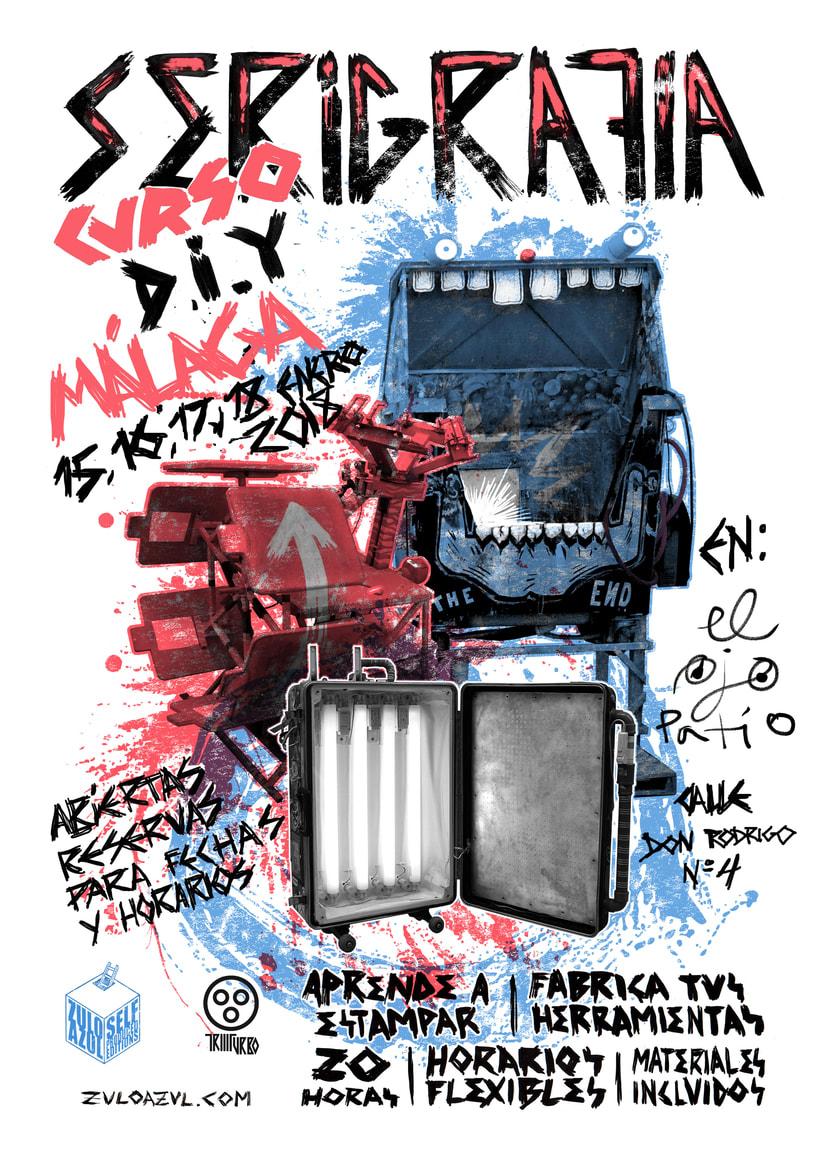 Curso serigrafia D.I.Y Málaga Zulo Azul 1