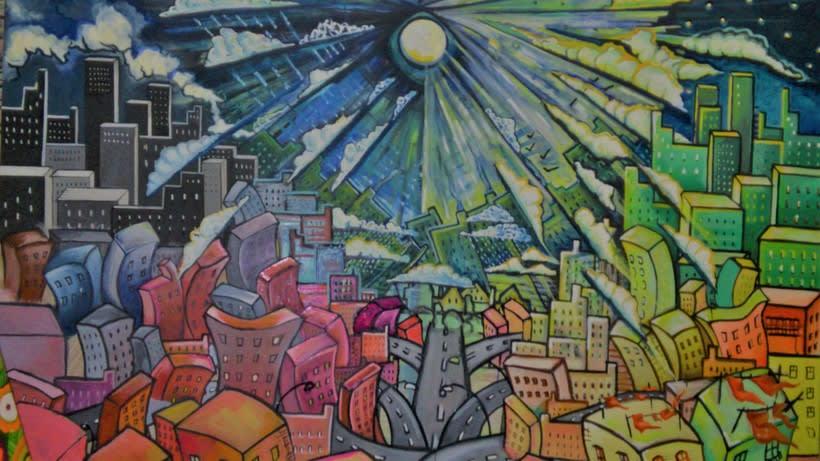 Inspiración Kandinsky ( óleo sobre tabla madera/cartón reciclado) 2