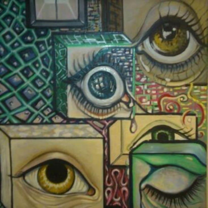 Inspiración Kandinsky ( óleo sobre tabla madera/cartón reciclado) 3