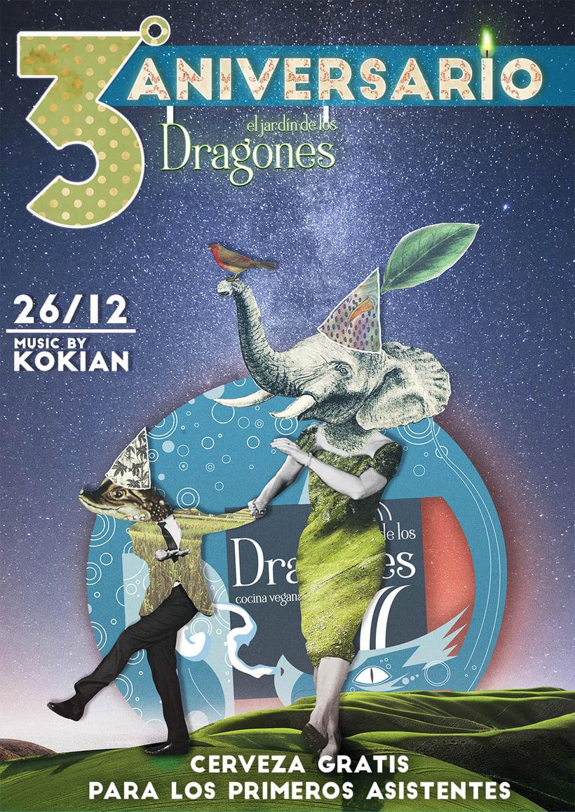 Ilustraci n y cartel para el restaurante vegano el jard n for El jardin de los dragones