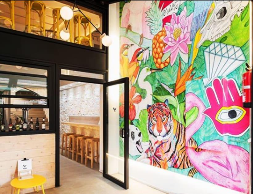 Pintura Mural para el Hall del restaurante Butcher BCN -1