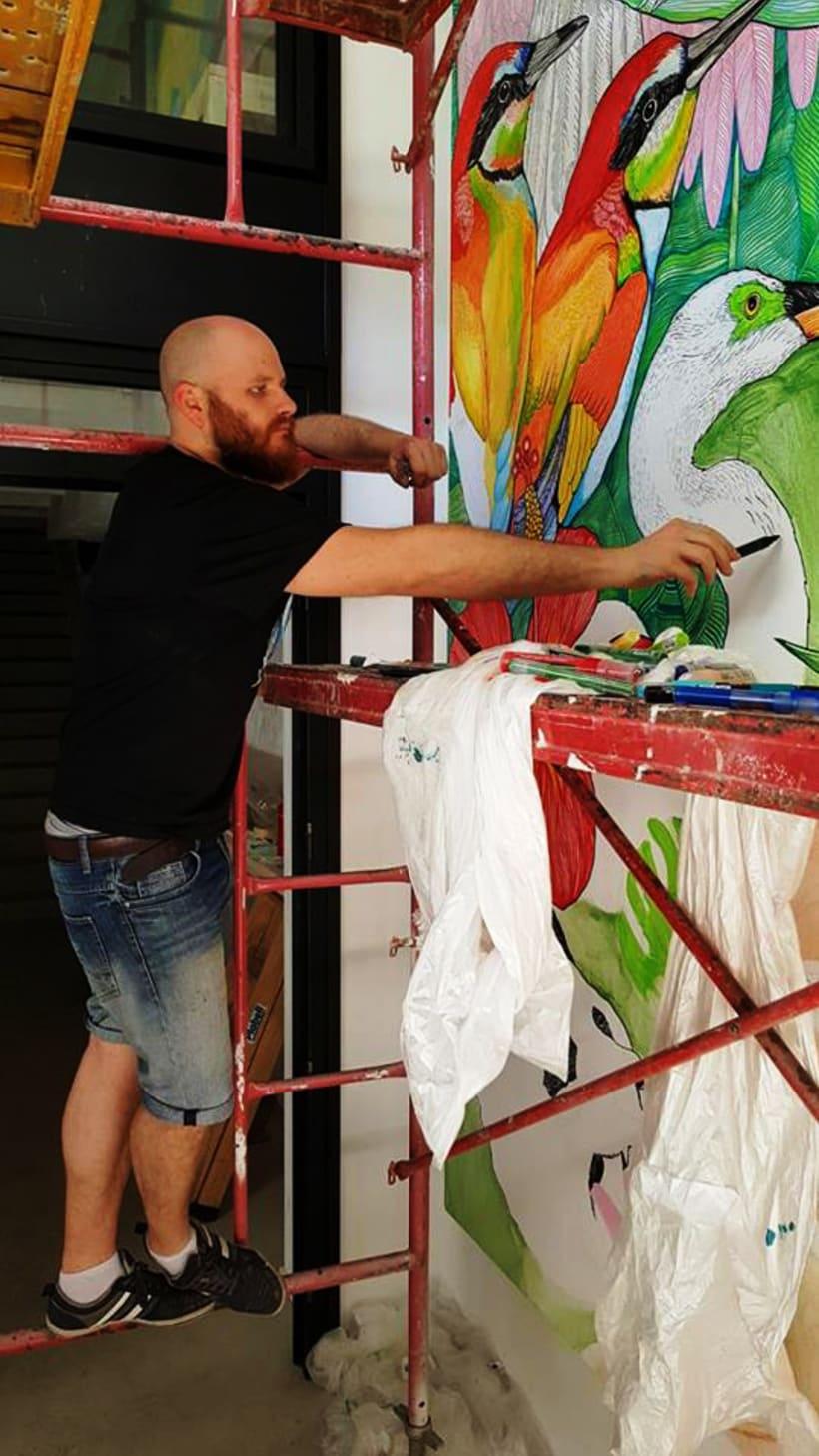 Pintura Mural para el Hall del restaurante Butcher BCN 0