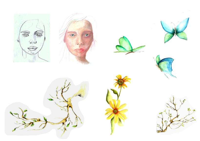 Retrato ilustrado en acuarela, técnica seca y ordenador. -1