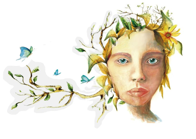 Retrato ilustrado en acuarela, técnica seca y ordenador. 0