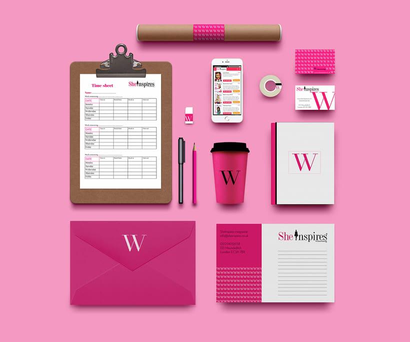 Diseño de material de oficina y revista para She Inspires magazine -1