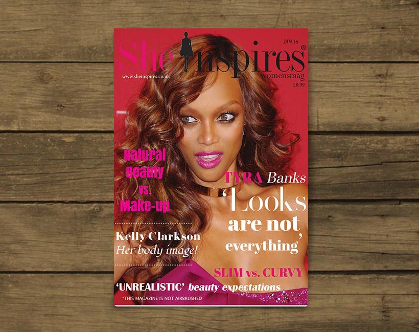 Diseño de material de oficina y revista para She Inspires magazine 0