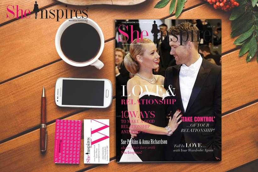 Diseño de material de oficina y revista para She Inspires magazine 1