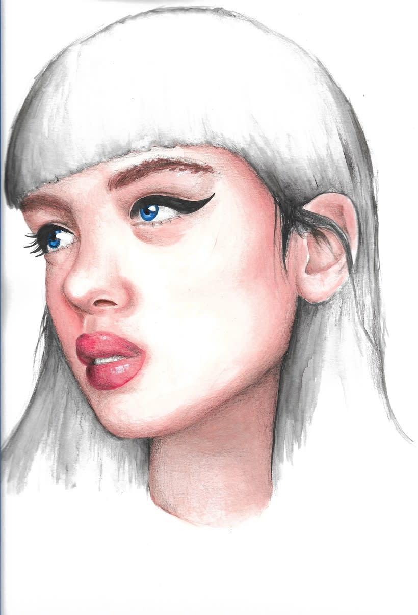 Punto magenta: Retrato ilustrado en acuarela 3
