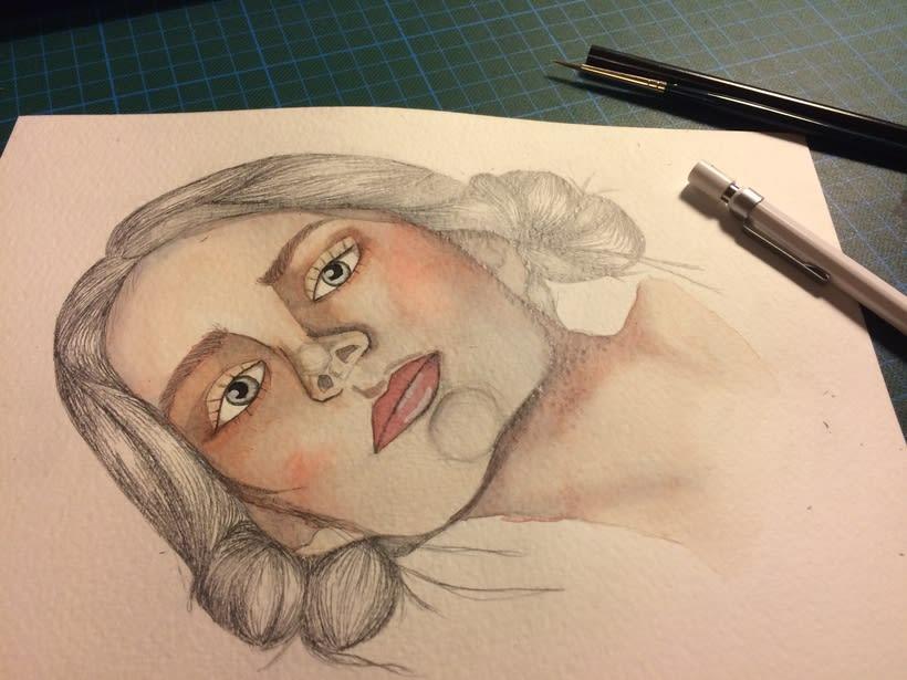Mi Proyecto del curso: Retrato ilustrado en acuarela 1