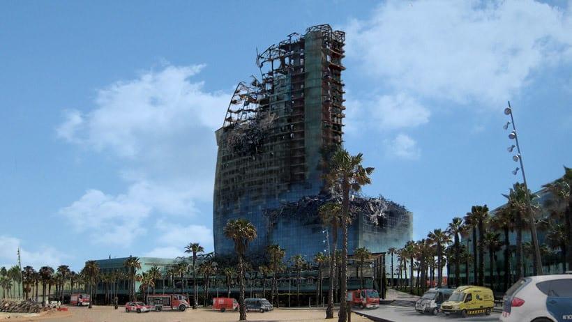 Matte Painting. Simulación de incendio en el Hotel Vela BCN 3