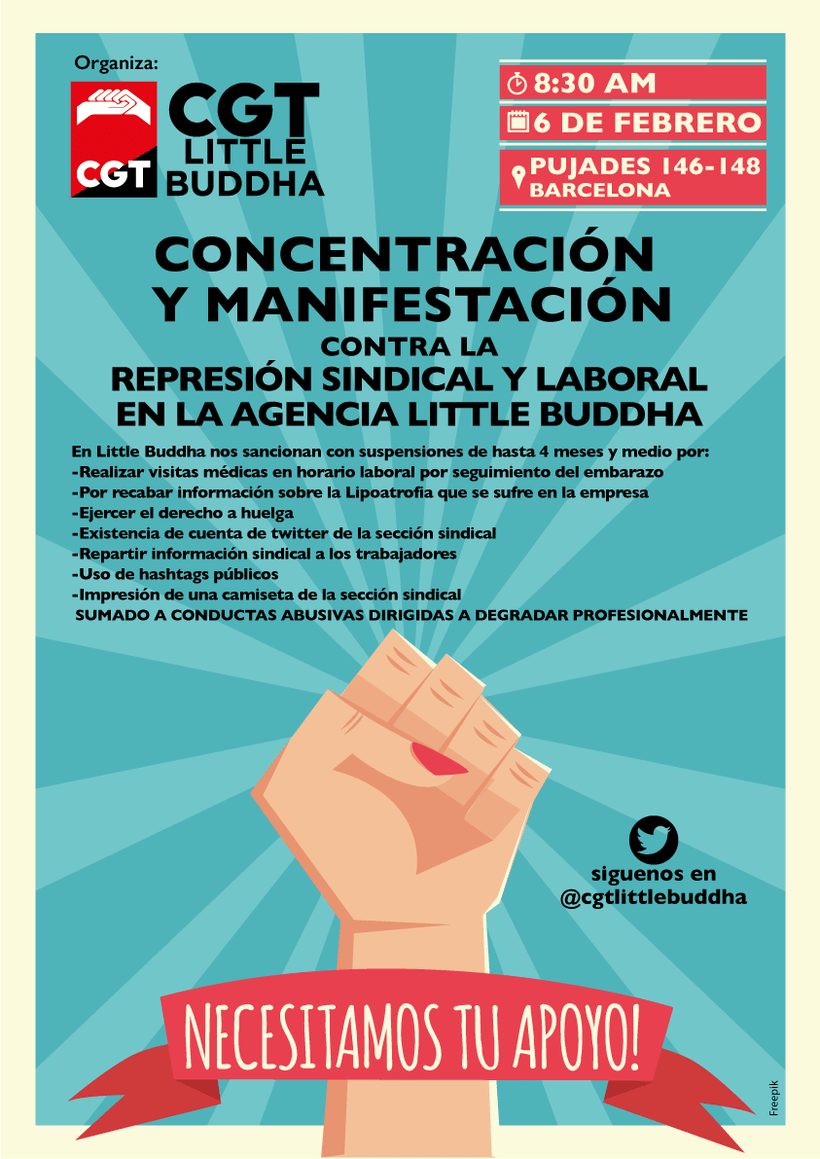 Basta de Represion laboral y sindical en la agencia Little Buddha 1