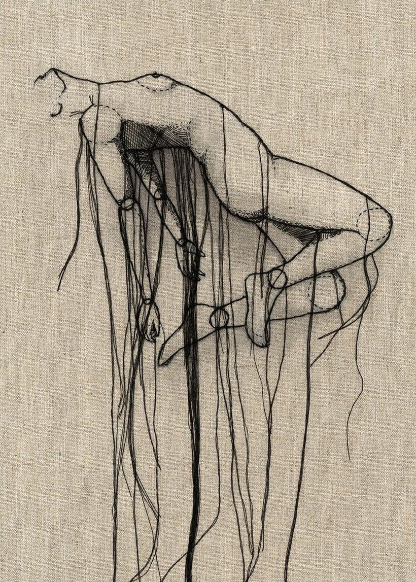Anatomía femenina bordada con hilo y aguja | Domestika