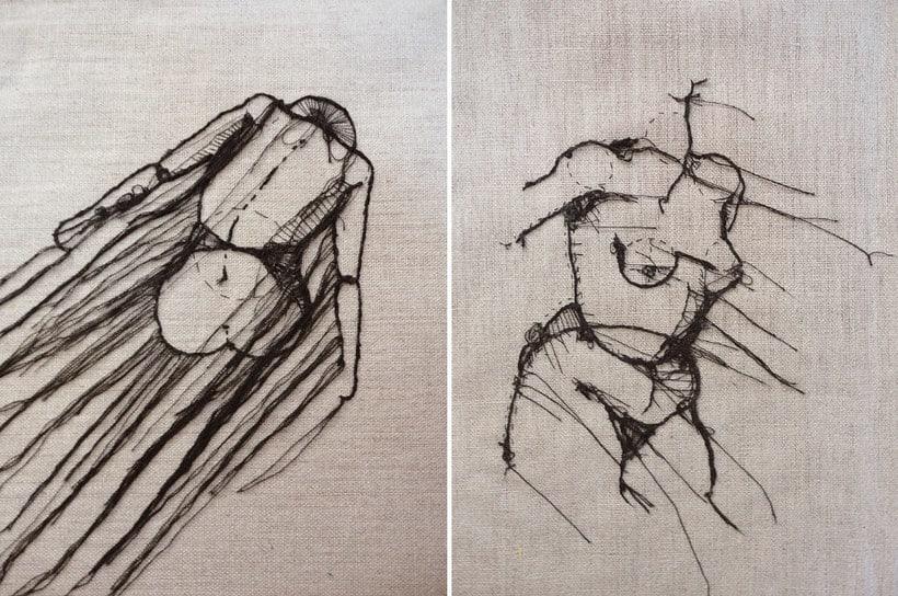 Anatomía femenina bordada con hilo y aguja 12