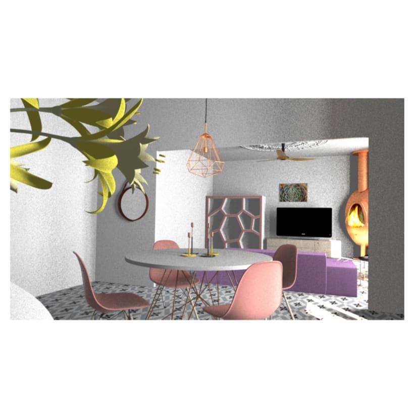 Proyecto de interiorismo en 3d max comedor con cuadros realizados ...