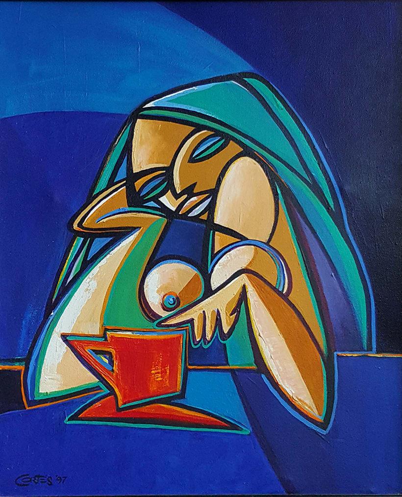 """La Mujer, su belleza y sus moods. el artista como admiración a la mujer, ha creado la colección de pinturas """"belleza y humor"""". 3"""