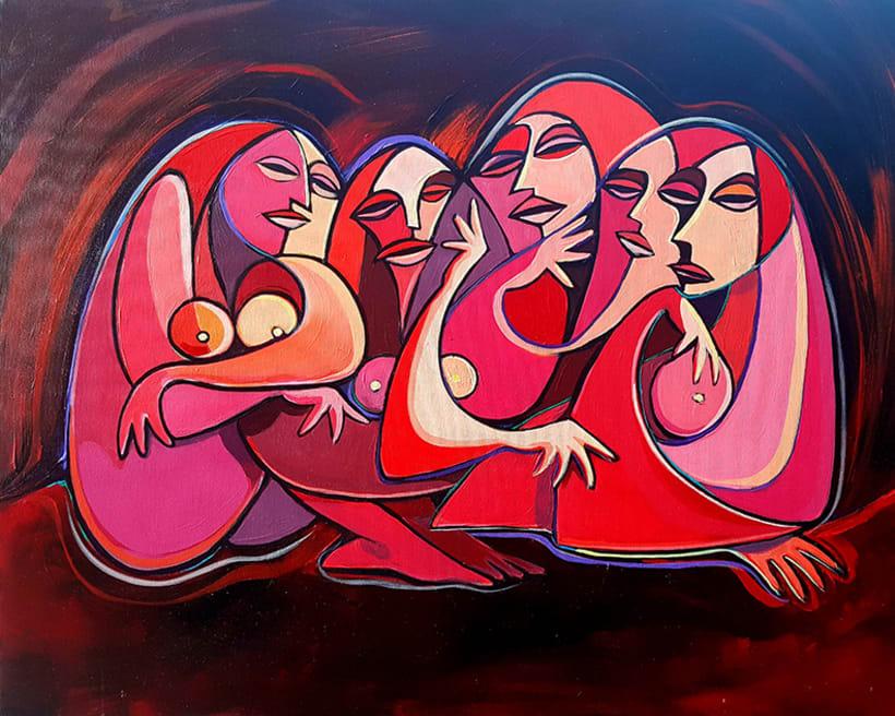 """La Mujer, su belleza y sus moods. el artista como admiración a la mujer, ha creado la colección de pinturas """"belleza y humor"""". 8"""