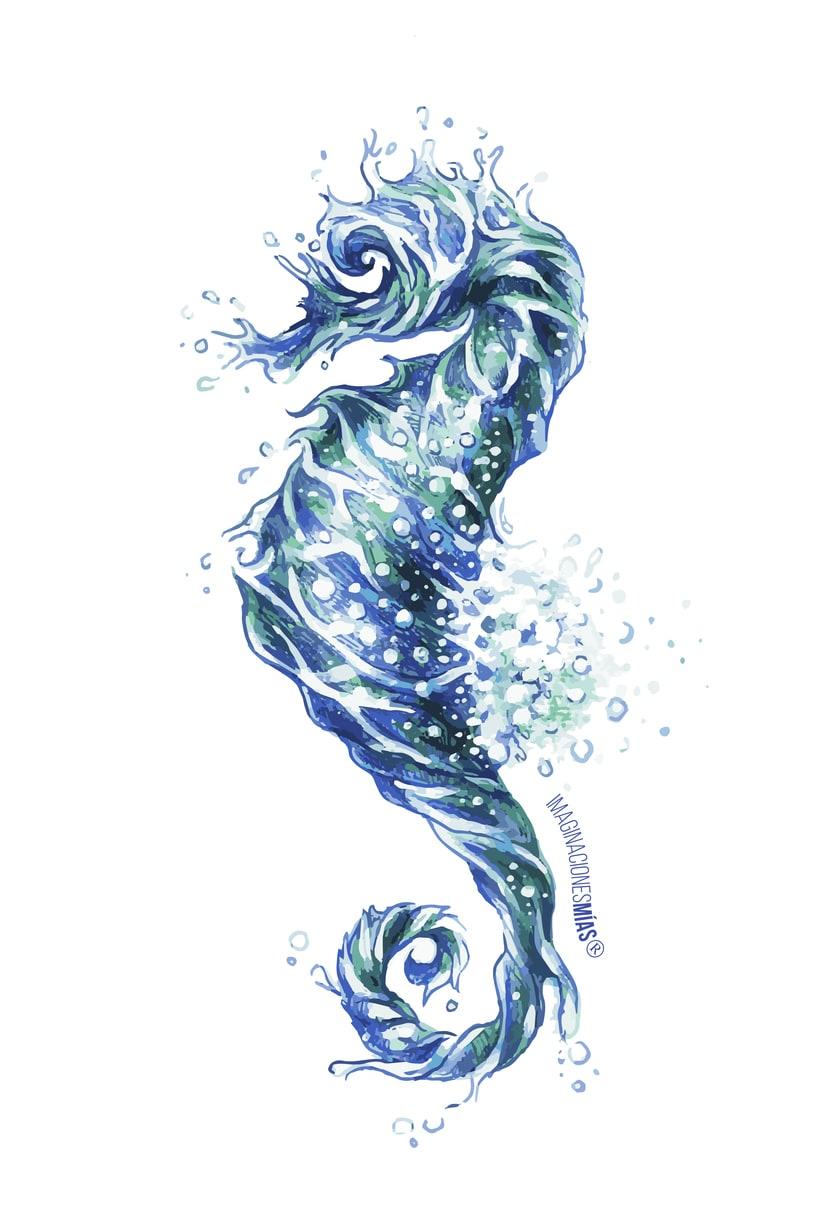 Serie Aquarium (Dibujos técnica mixta y retoque digital) 1