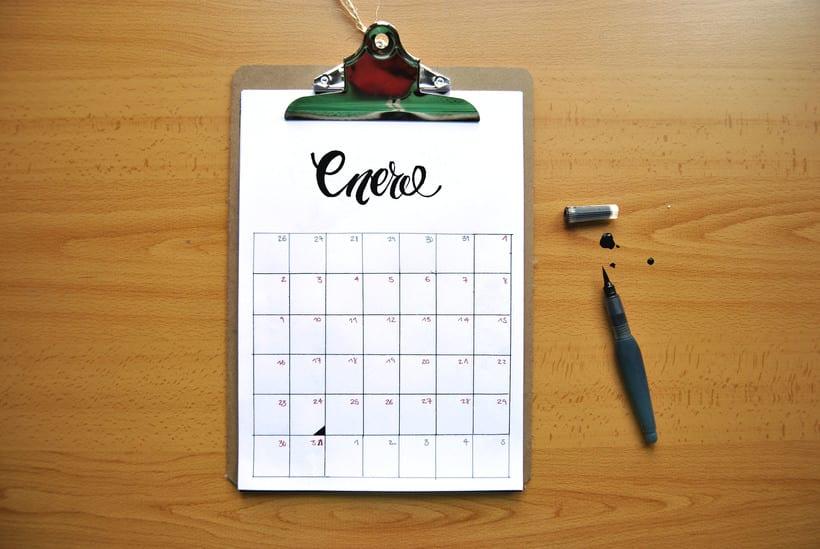 Calendario. Hand lettering 0