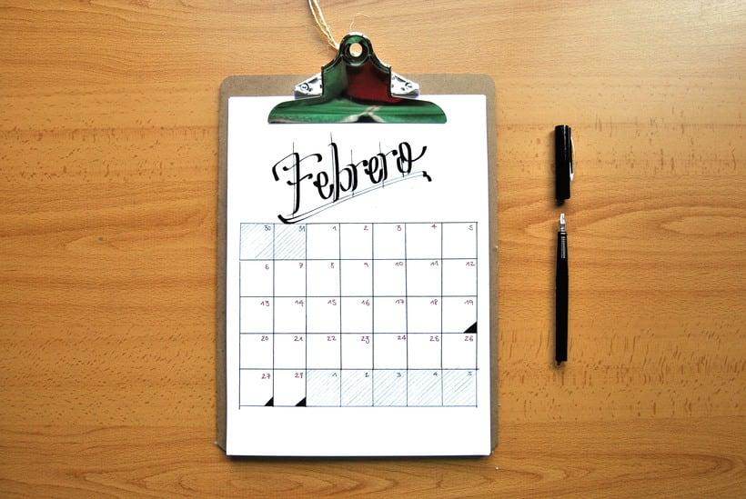 Calendario. Hand lettering 1
