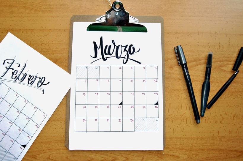 Calendario. Hand lettering 2
