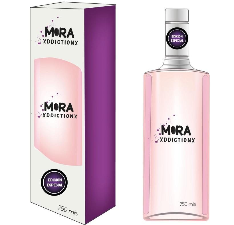 Troquel, caja y botella de Mora XdicctionX  0