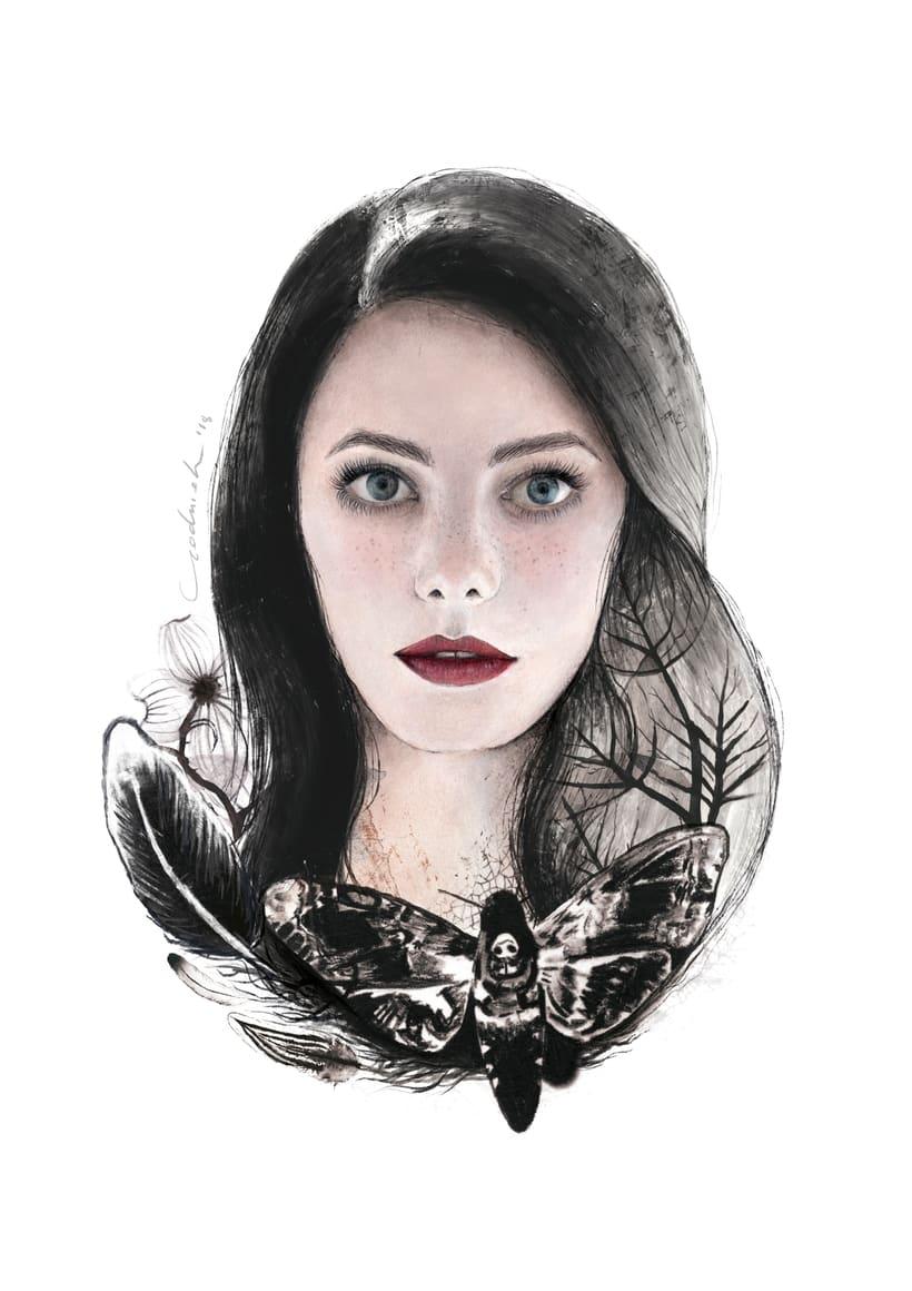 Mi Proyecto del curso: Retrato ilustrado en acuarela. Kaya Scodelario. 0