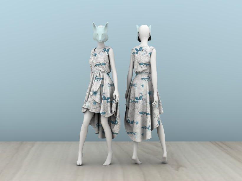 """Mi Proyecto del curso: Diseño de estampados textiles """"lobo en bosque azul"""" -1"""