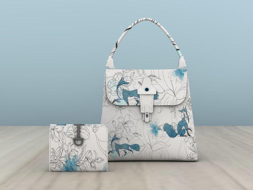 """Mi Proyecto del curso: Diseño de estampados textiles """"lobo en bosque azul"""" 0"""