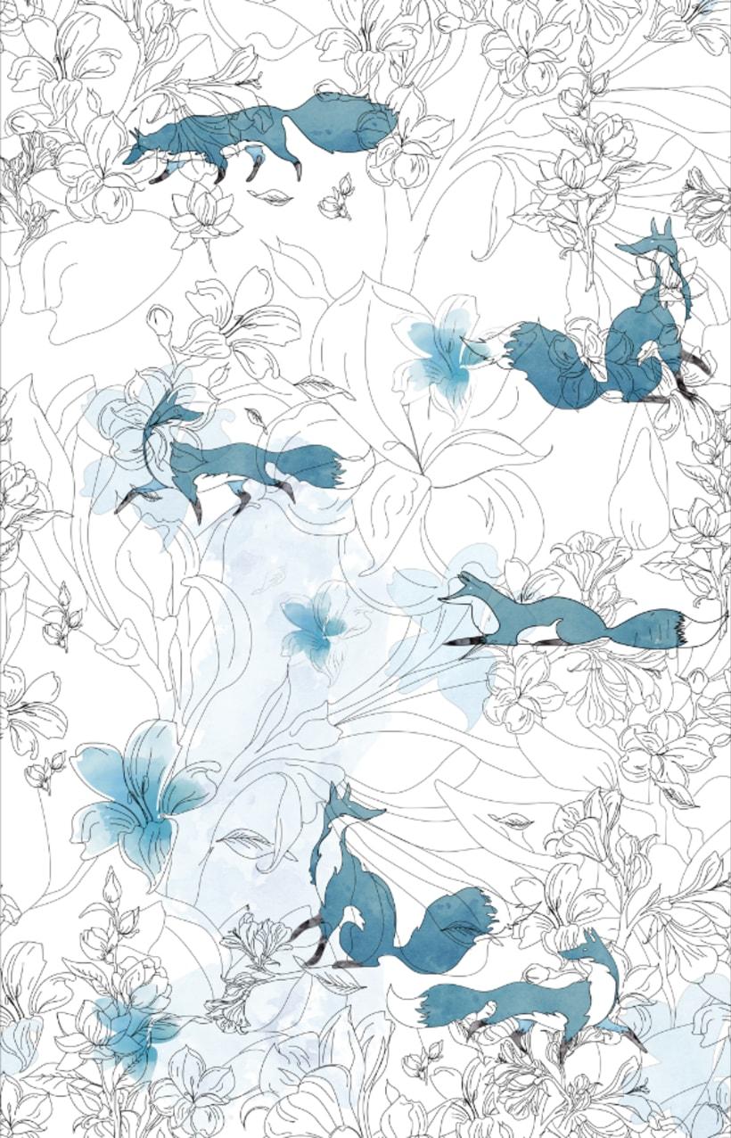 """Mi Proyecto del curso: Diseño de estampados textiles """"lobo en bosque azul"""" 1"""