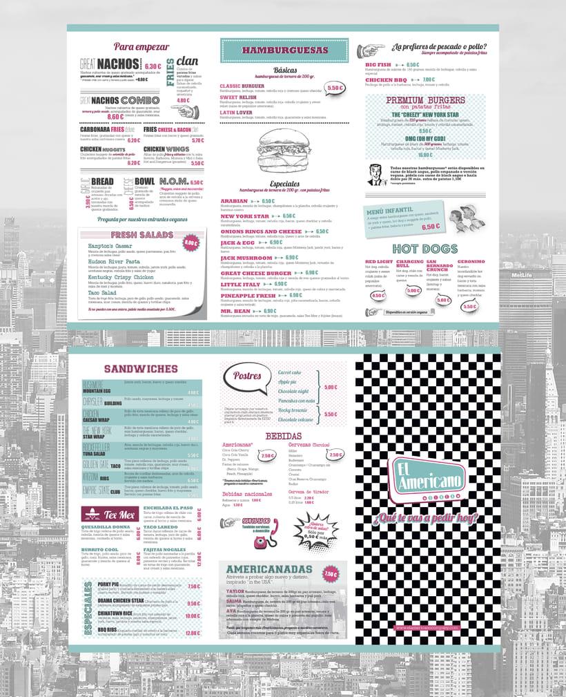 Cartas para restaurante El Americano 0