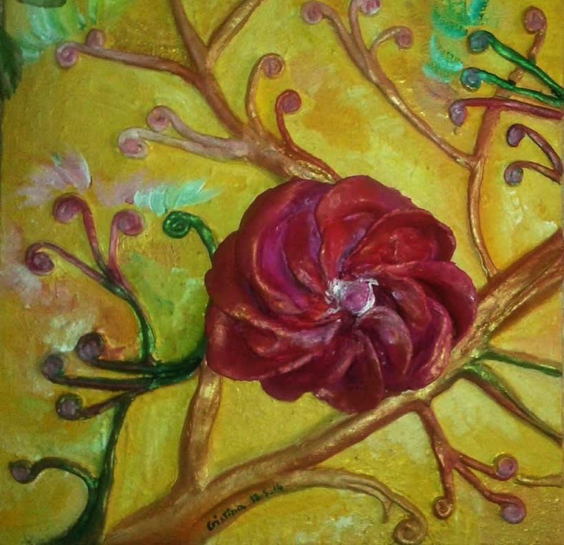 Cuadro: flores en relieve -1