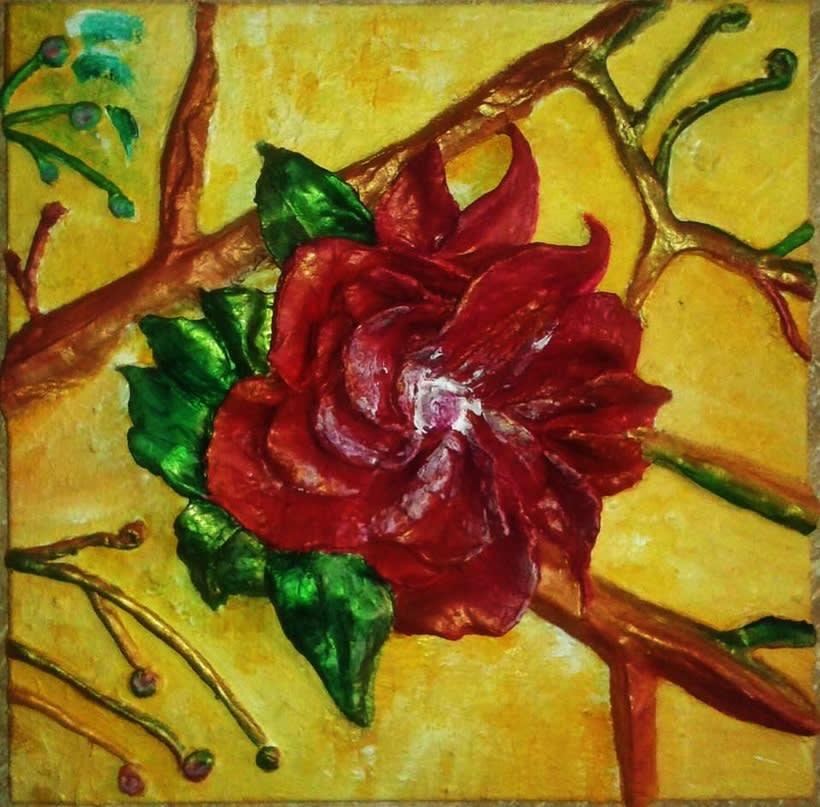 Cuadro: flores en relieve 1