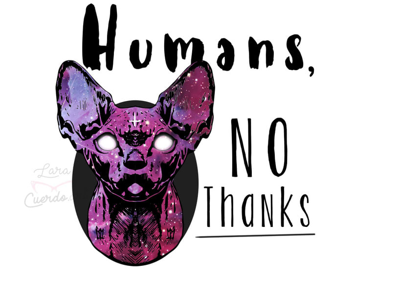 "Print y mockup ""Humans, no thanks"" 0"