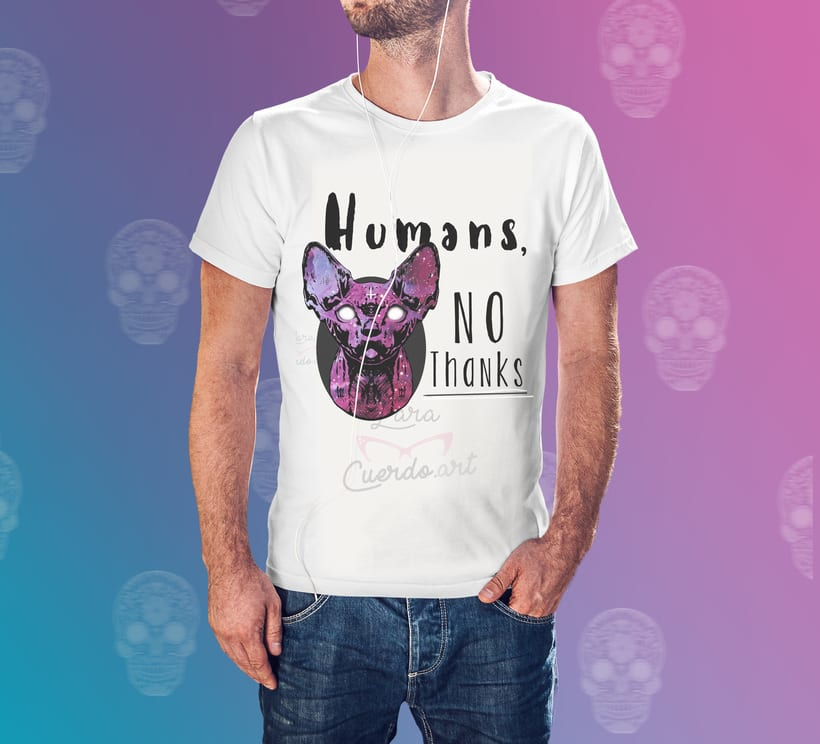 "Print y mockup ""Humans, no thanks"" 1"