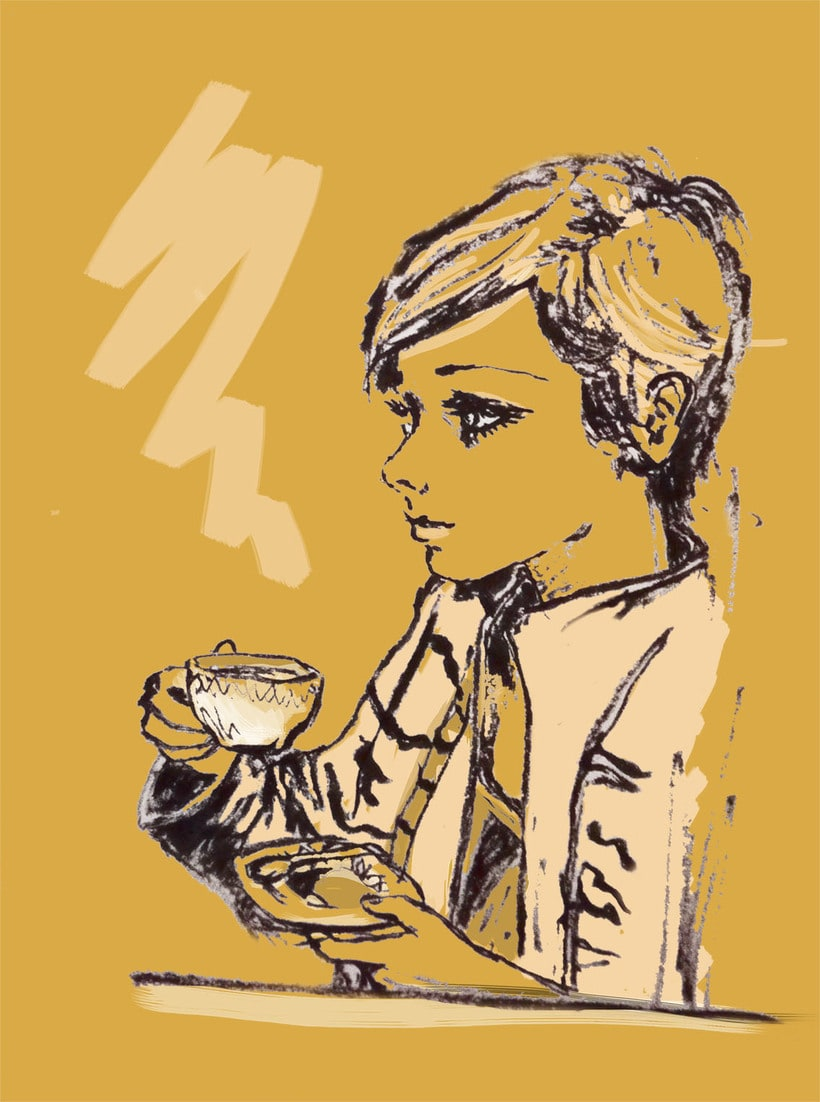 Twiggy drinking coffee 2