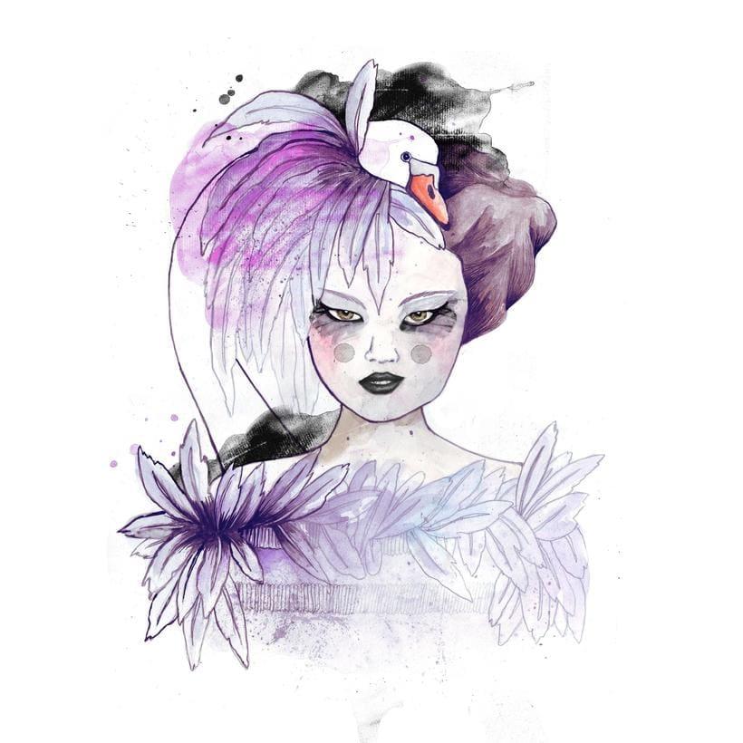 Ilustración moda inspirada en la colección Haute Couture de Coco Chanel 0