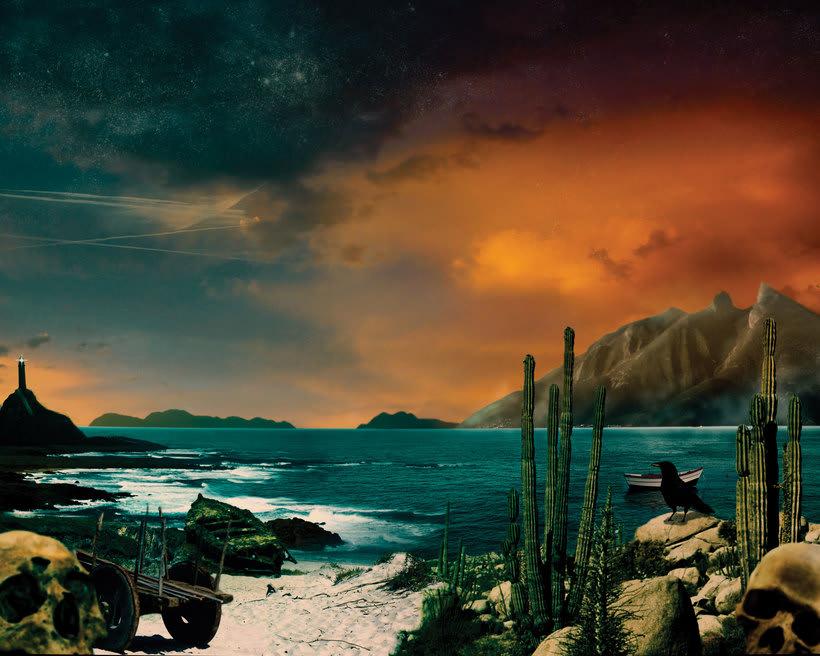 Duques de Monterrey Album Cover Matte painting. 2