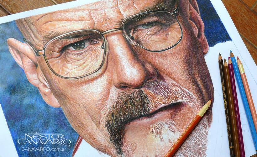 Bryan Cranston (Walter White). Lápices de Colores sobre papel 1