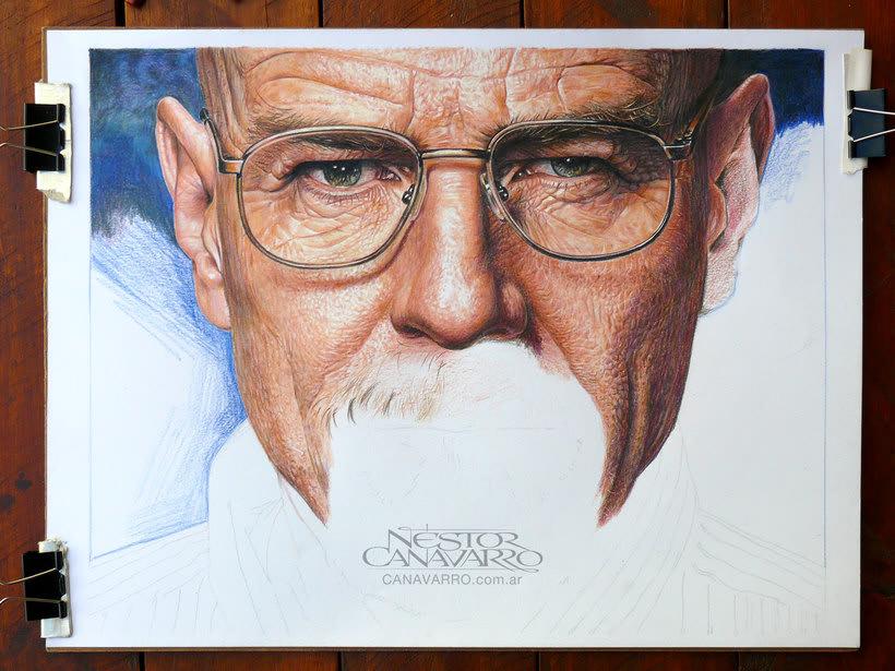 Bryan Cranston (Walter White). Lápices de Colores sobre papel 2