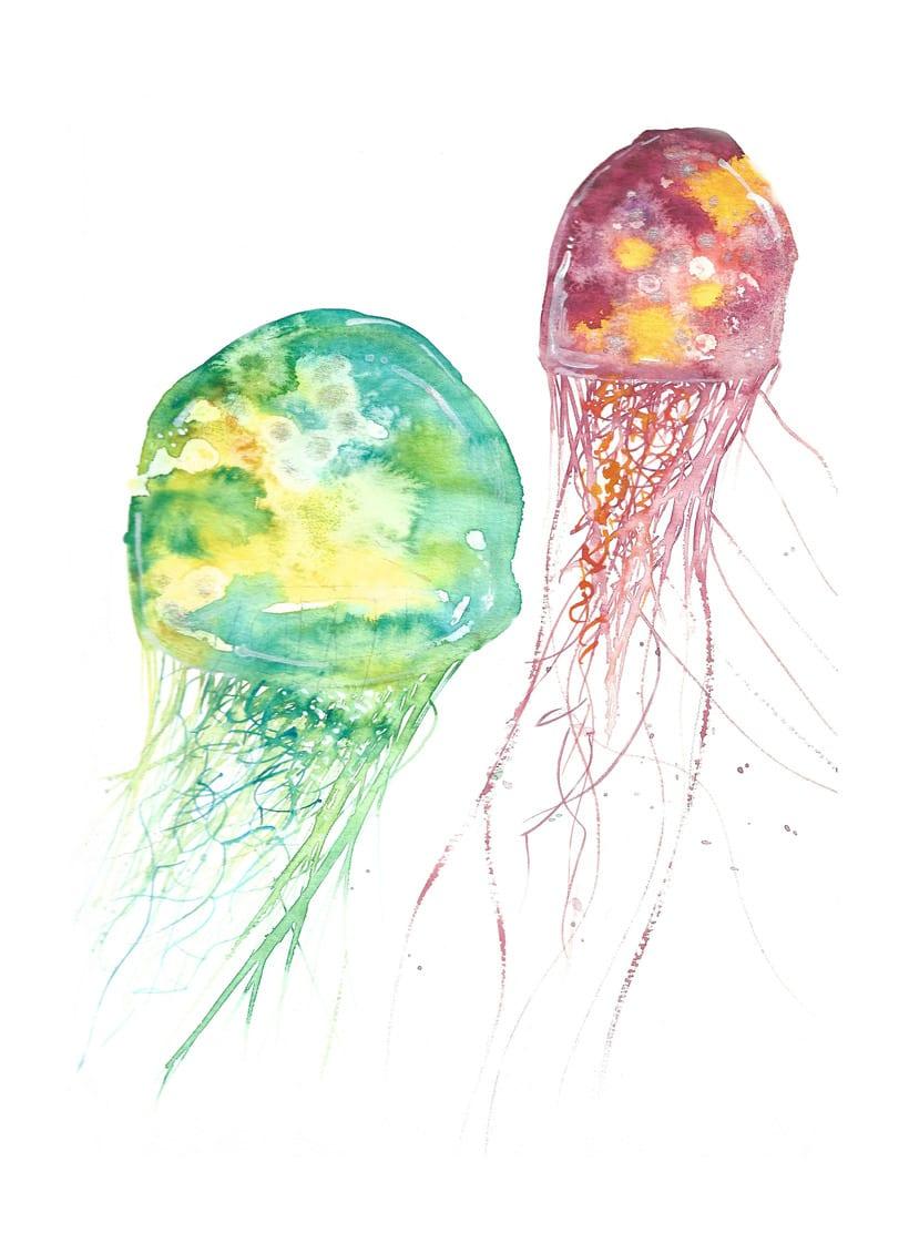 Medusas me encanto experimentar con la tecnica de acuarela, tinta china y otros materiales !! 0